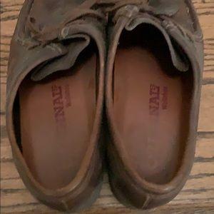 Women's dark brown leather wallabees